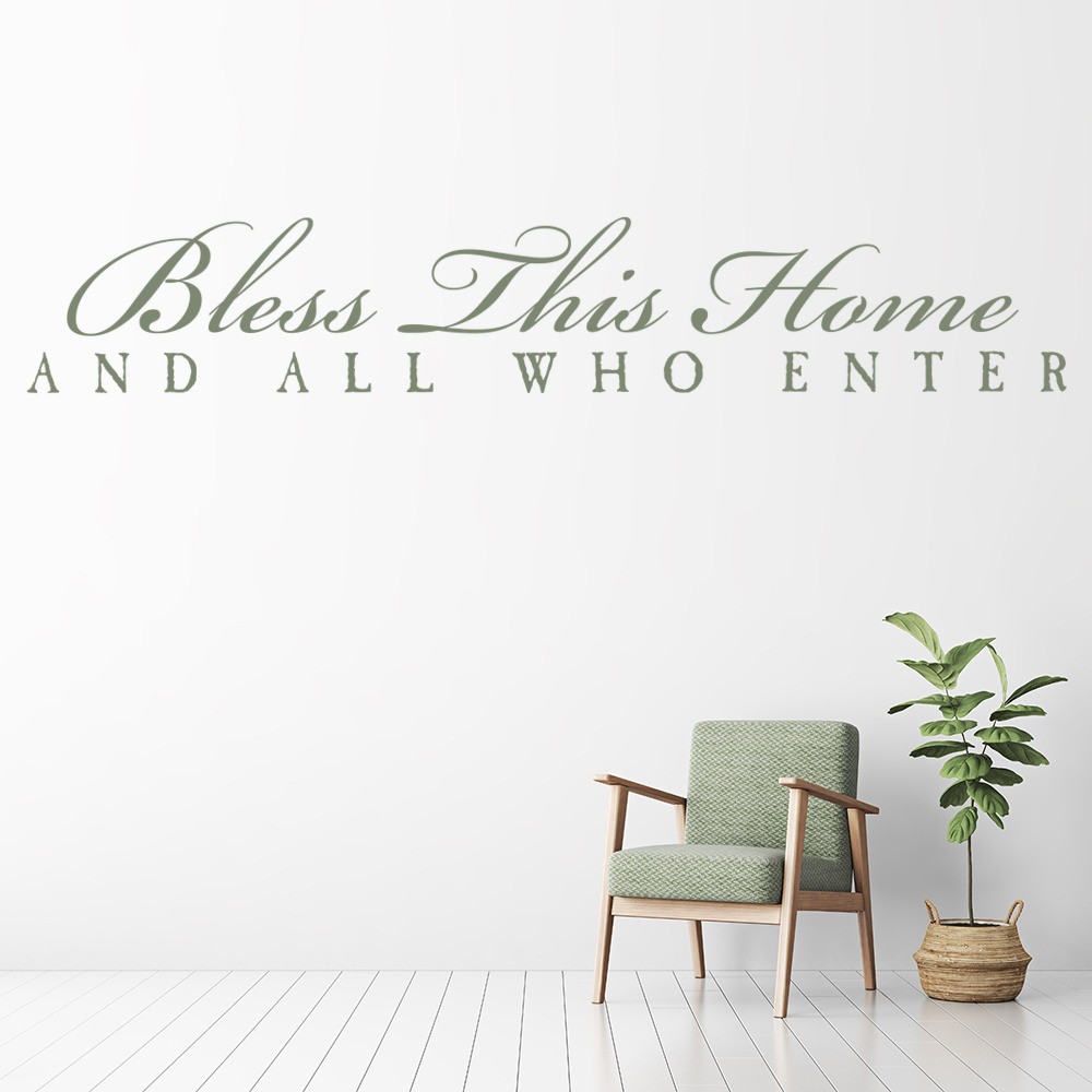 Bless This Home And All Who Enter Wall Stickers Religious Wall Art