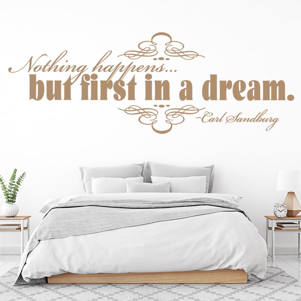 Nothing Happens But First In A Dream Wall Sticker Carl Sandburg Wall Art