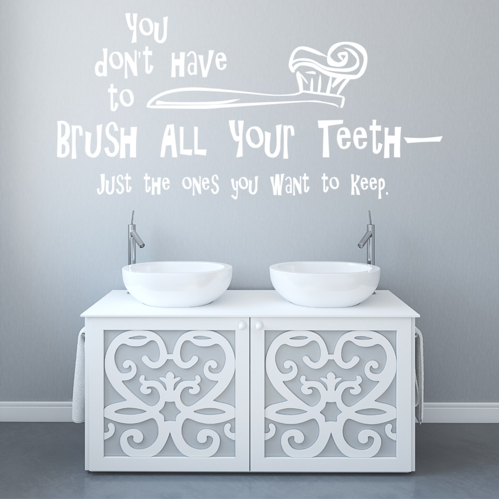 Brush Your Teeth Wall Sticker Funny Kids Quote Wall Decal