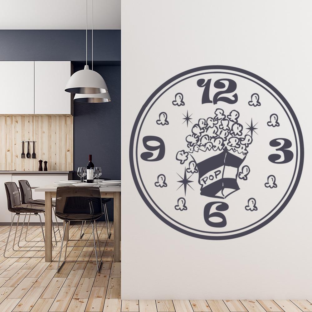 Popcorn Clock Wall Sticker Kitchen Wall Art