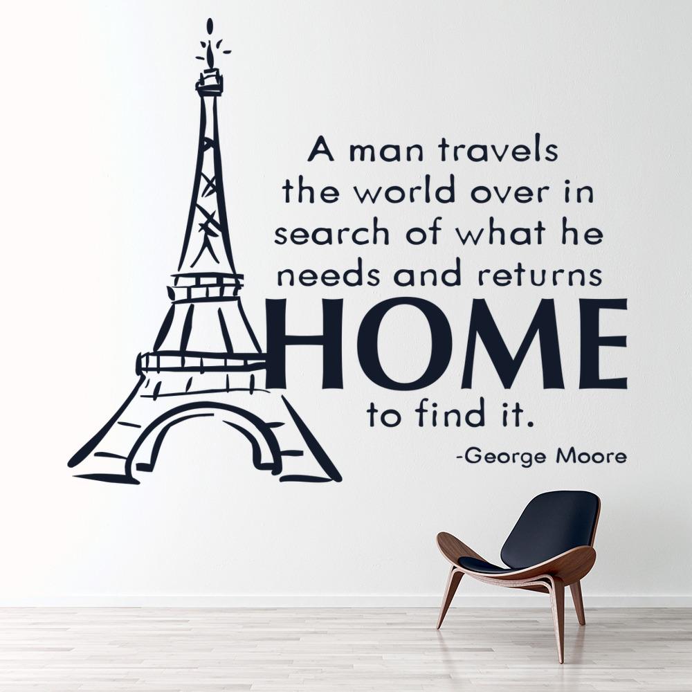 A Man Travels The World Over Wall Sticker Eiffel Tower Wall Art