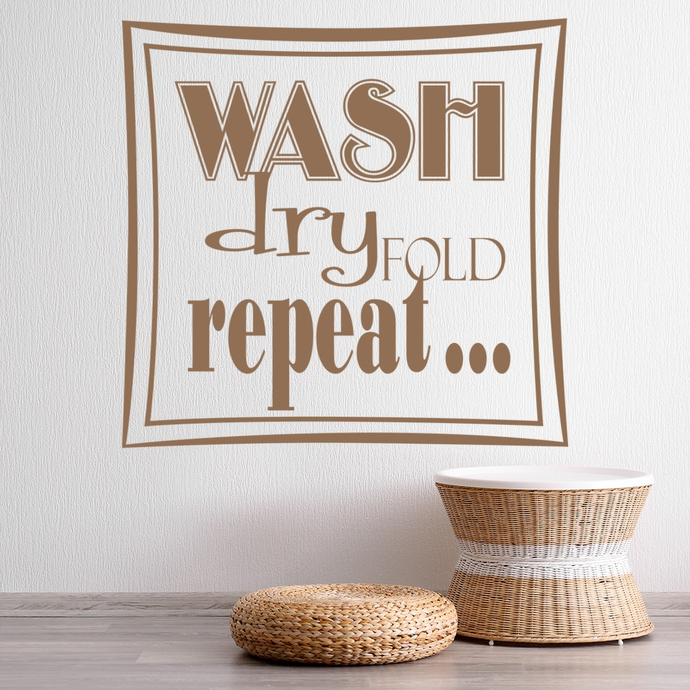 Wash Dry Fold Repeat Wall Sticker Home Wall Art