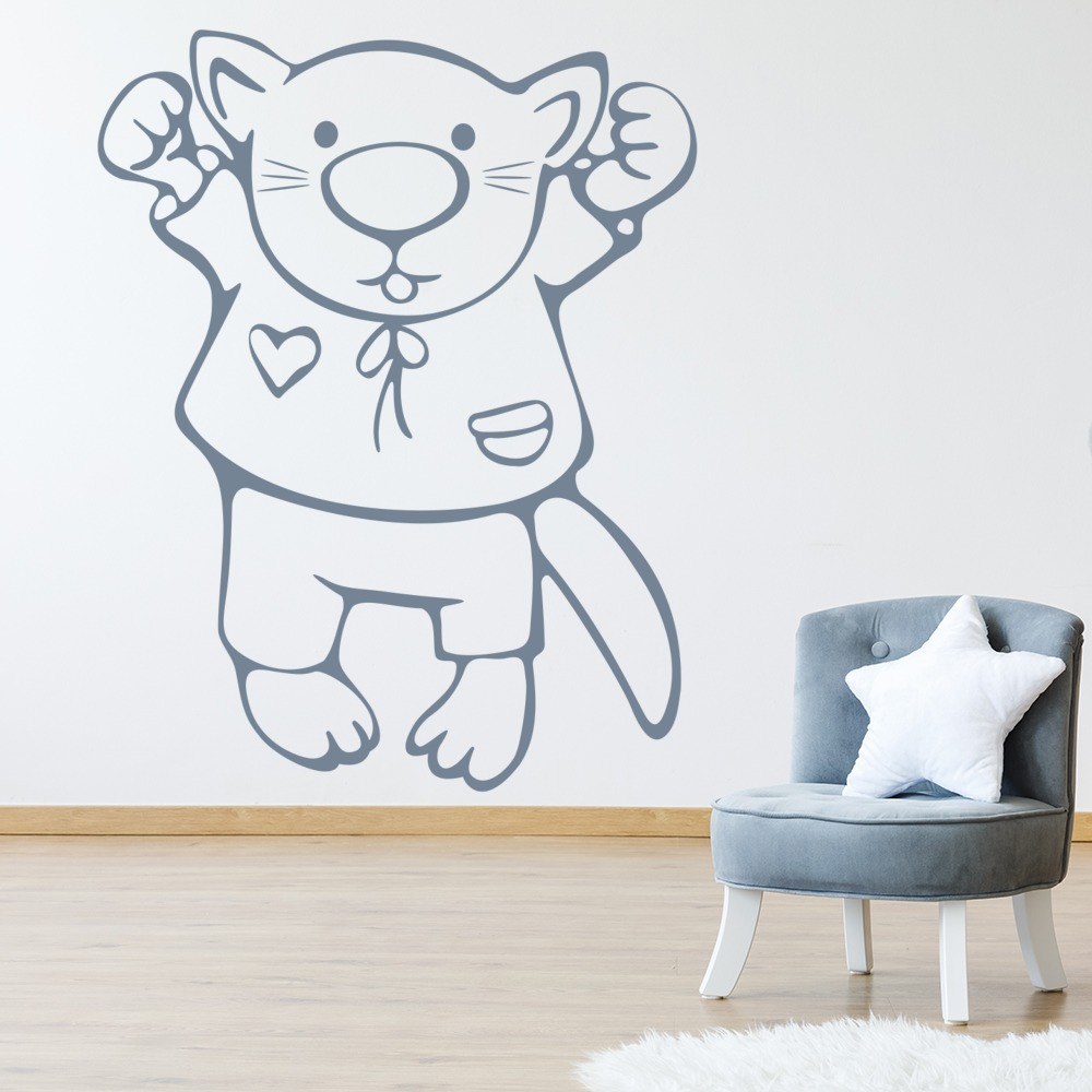 Kitten In Clothes Childrens Nursery & Baby Wall Stickers Home Decor Art Decals