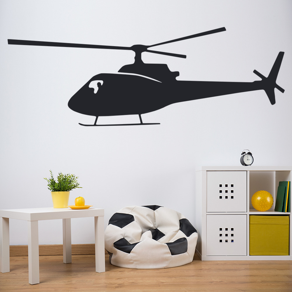 Helicopter Wall Sticker Aircraft Wall Decal Boys Bedroom Home Decor
