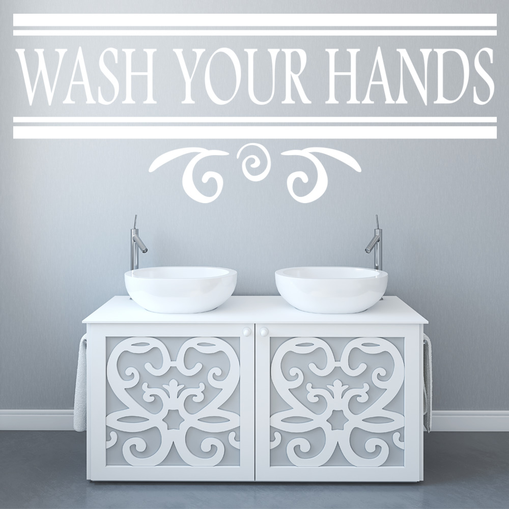 Wash Your Hands Wall Sticker Bathroom Wall Art