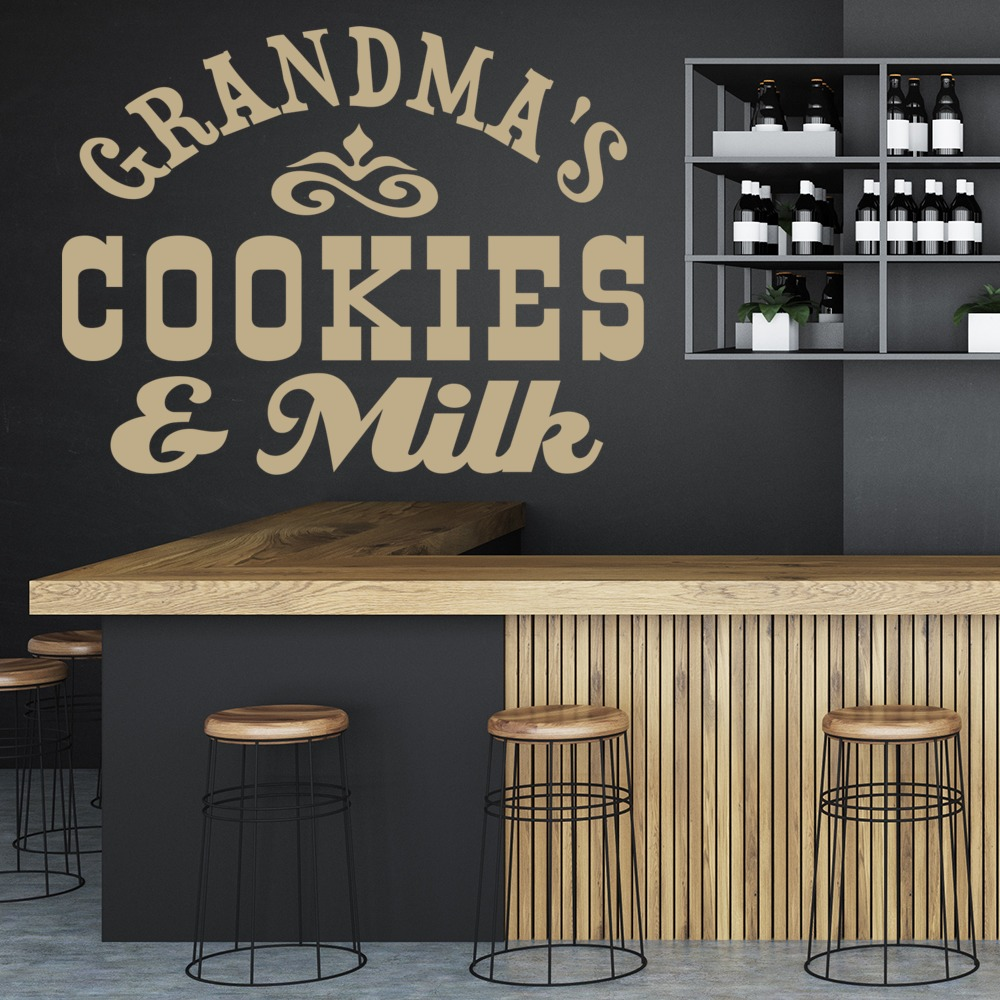 Grandma's Cookies And Milk Wall Sticker Text Wall Art