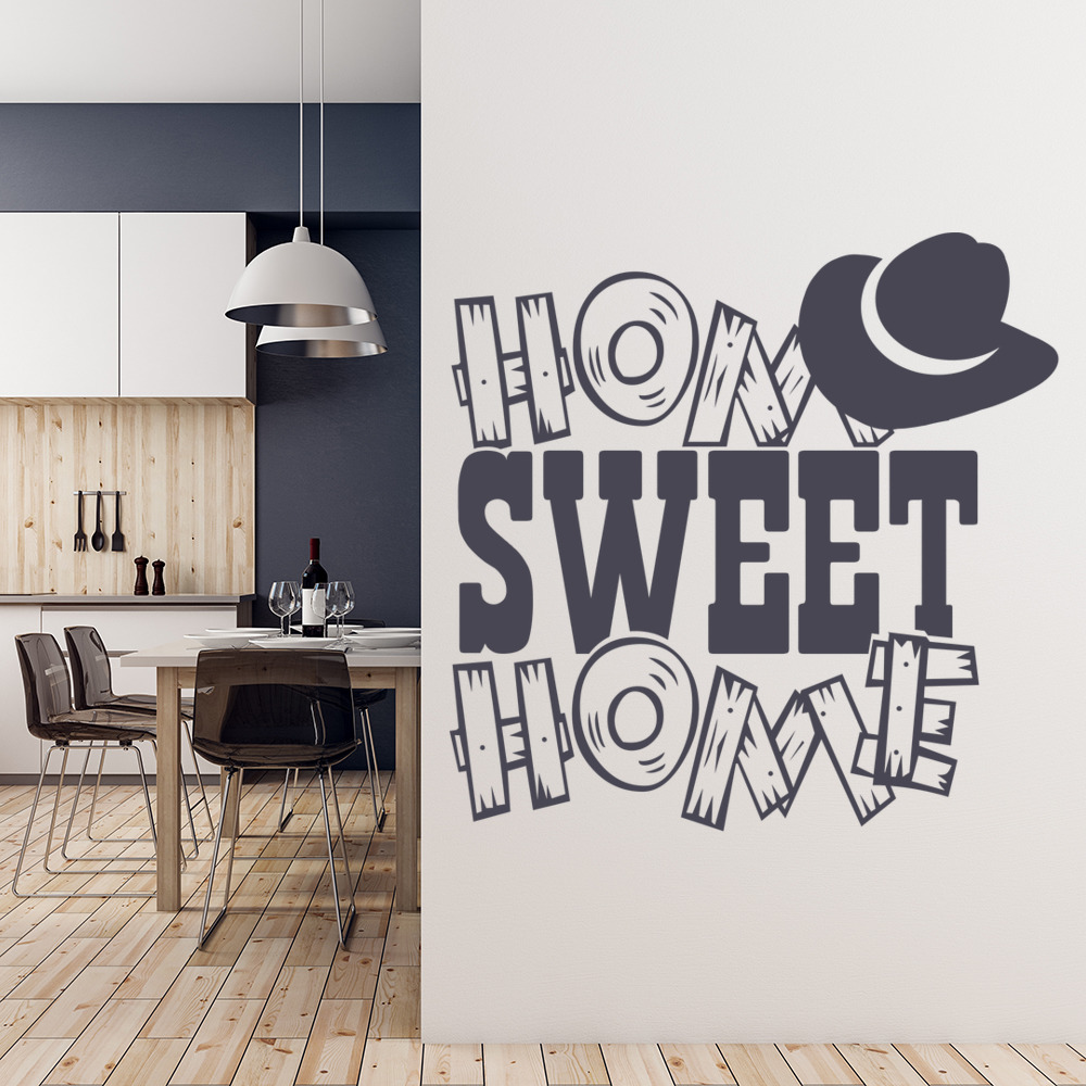 Home Sweet Home Cowboy Wall Quote America USA Wall Sticker Home Decor Art Decals