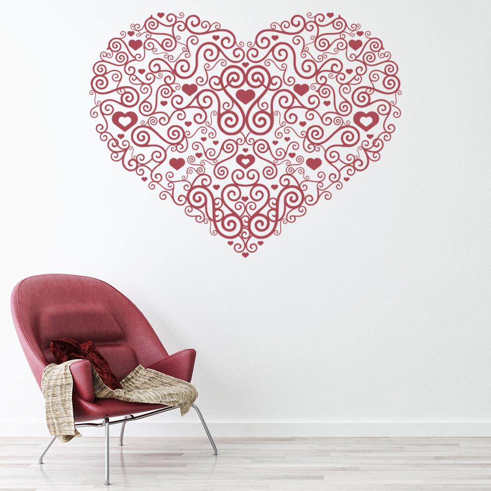 Heart Centrepiece Wall Sticker Spiral Love Heart Wall ...