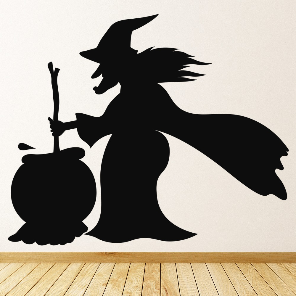 With With Cauldron Wall Sticker Halloween Wall Art