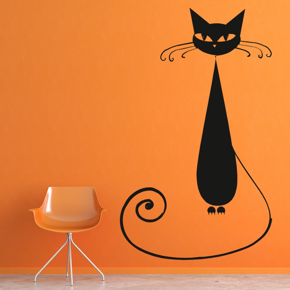 black cat house cats wall sticker