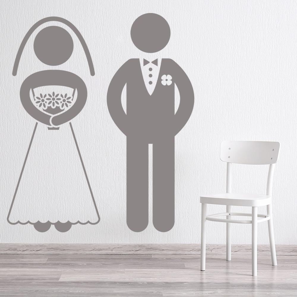 Bride And Groom Silhouette Wall Sticker Wedding Wall Art