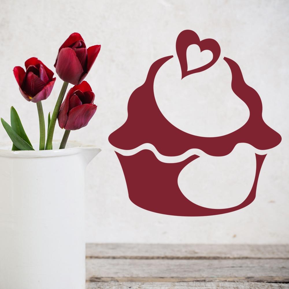 Heart Cupcake Wall Sticker Food Print Wall Art