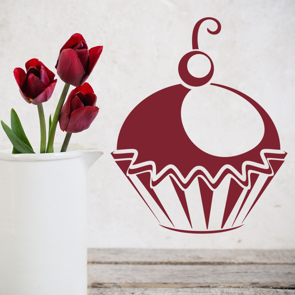Cherry Cupcake Wall Stickers Kitchen Food Wall Art