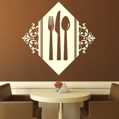 Floral Cutlery Set Wall Stickers Kitchen Wall Art