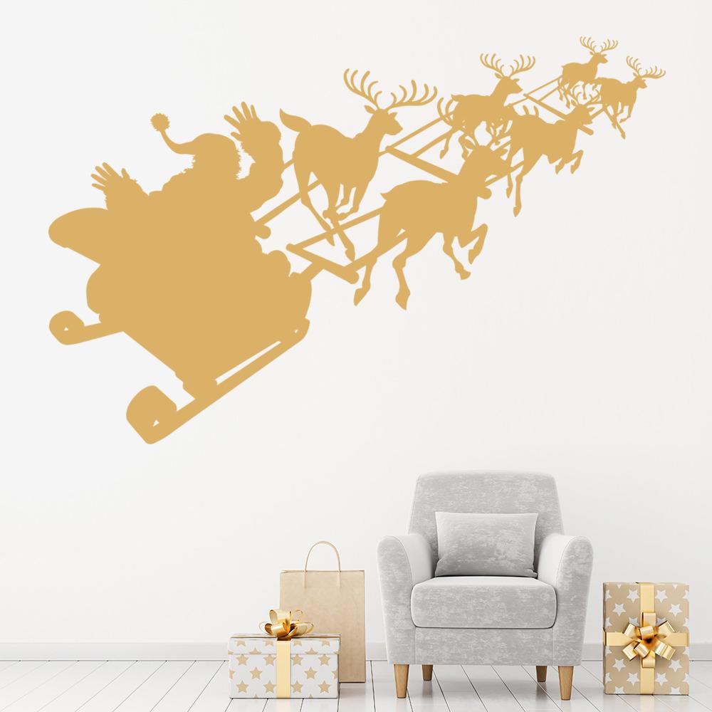 Shopping For Home Decor: Santa Sleigh Wall Sticker Christmas Reindeer Wall Decal