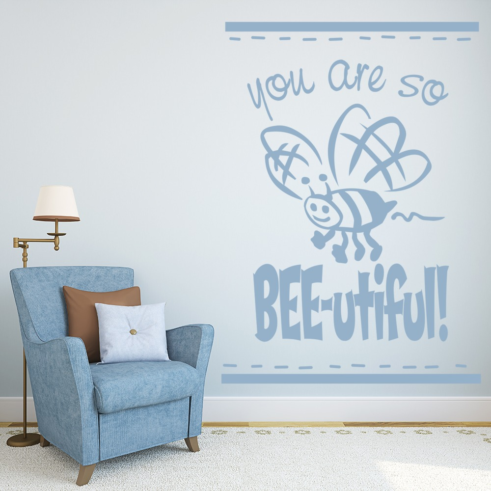 You Are So Bee-utiful Quote Butterflies & Insect Wall Stickers Home Art Decals