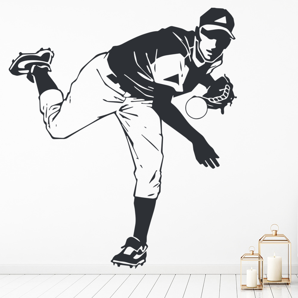 baseball pitcher wall sticker sport wall art
