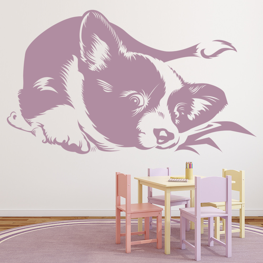 Border Collie Puppy Playful Canine Pets Dogs Wall Stickers Home Decor Art Decals