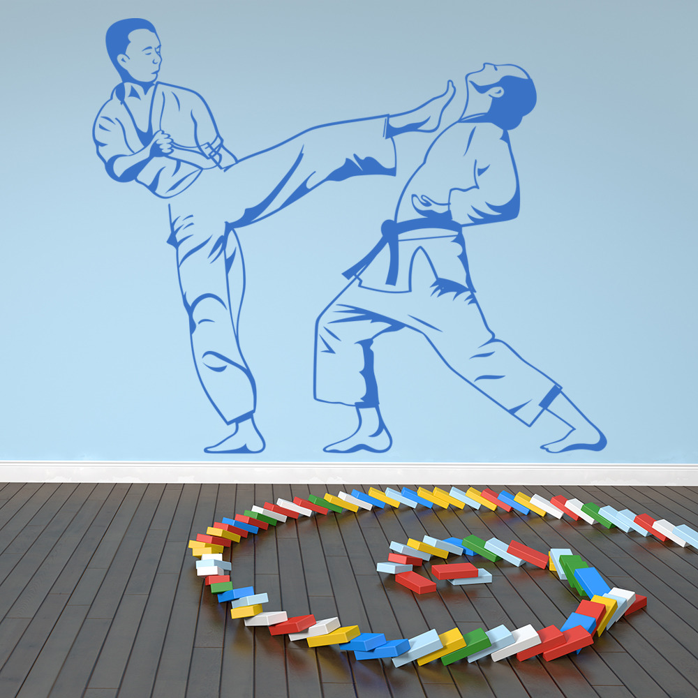 Karate Kick Wall Stickers Martial Art Style Wall Art