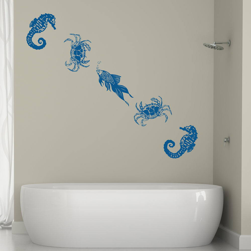 Under the sea wall sticker set seahorse fish wall decal for Under the sea bathroom ideas