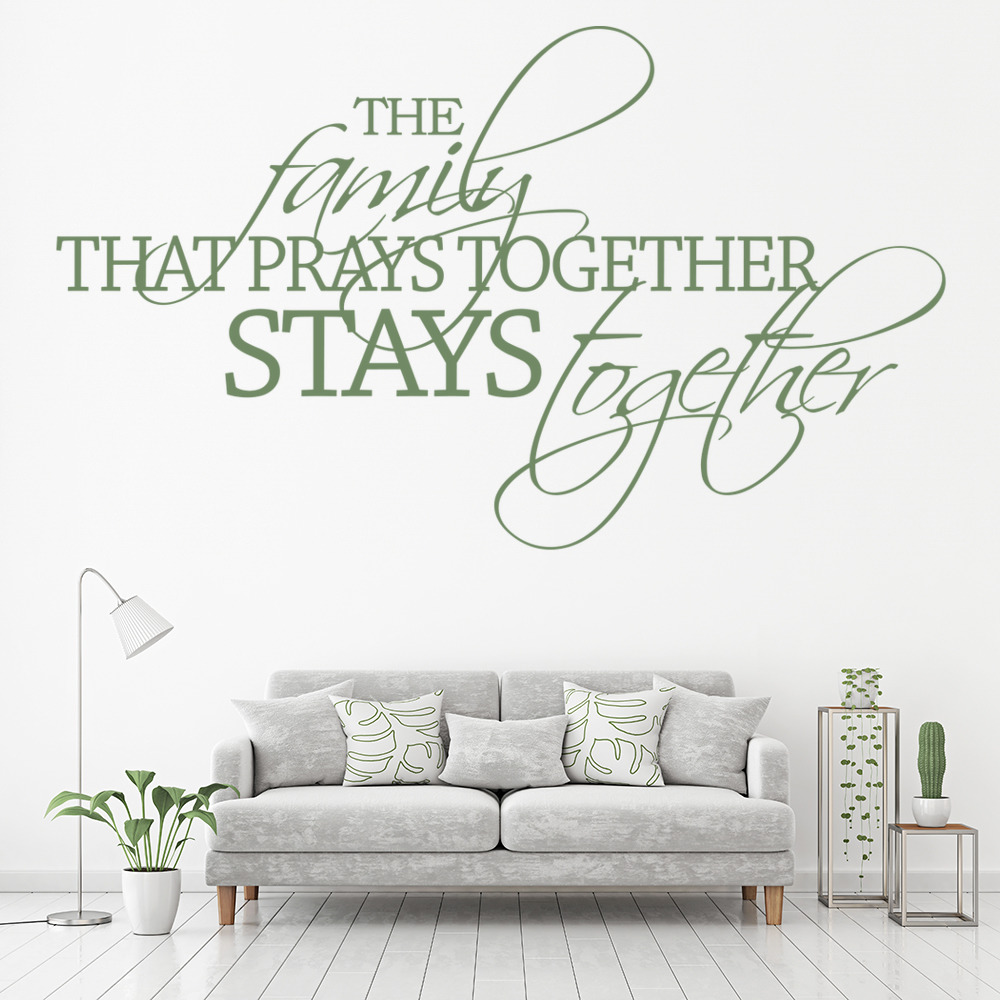 Family That Prays Together Religious Quotes Wall Stickers Home Decor Art Decals