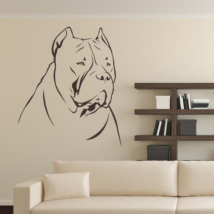 Dog De Bordeaux Face Outline Canine Pet Dogs Wall Stickers Home Decor Art Decals