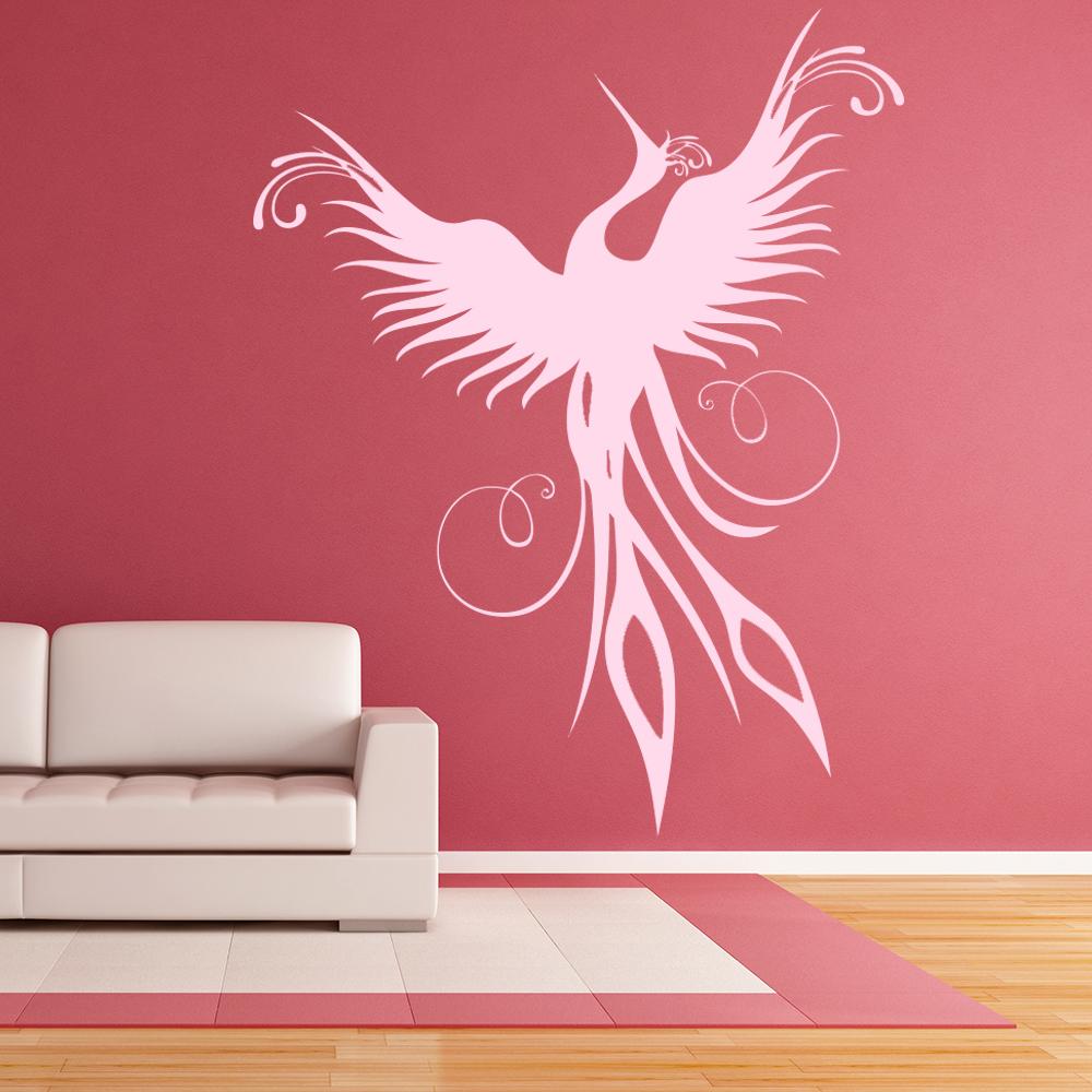 Phoenix Modern Silhouette Birds & Feathers Wall Stickers Home Decor Art Decals