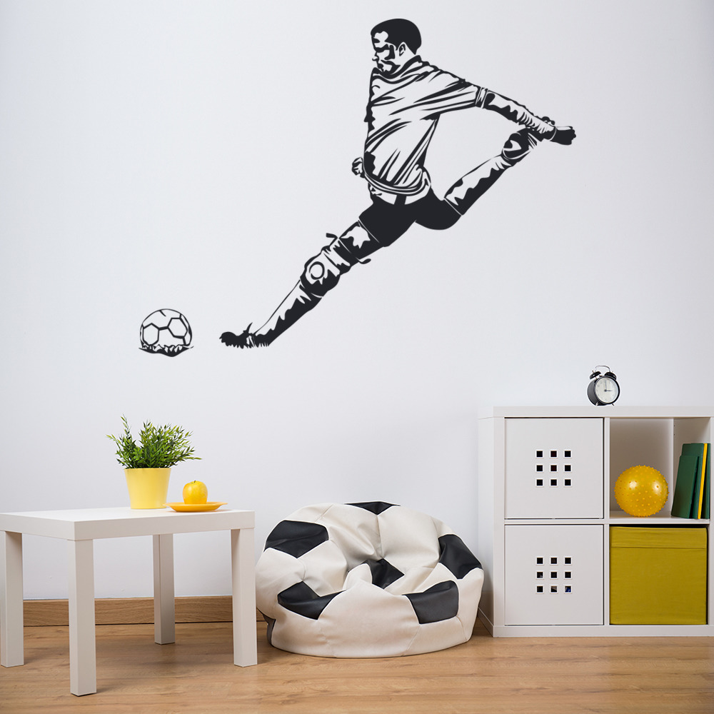 Football Player Goal Silhouette Football Wall Stickers Sports Decor Art Decals
