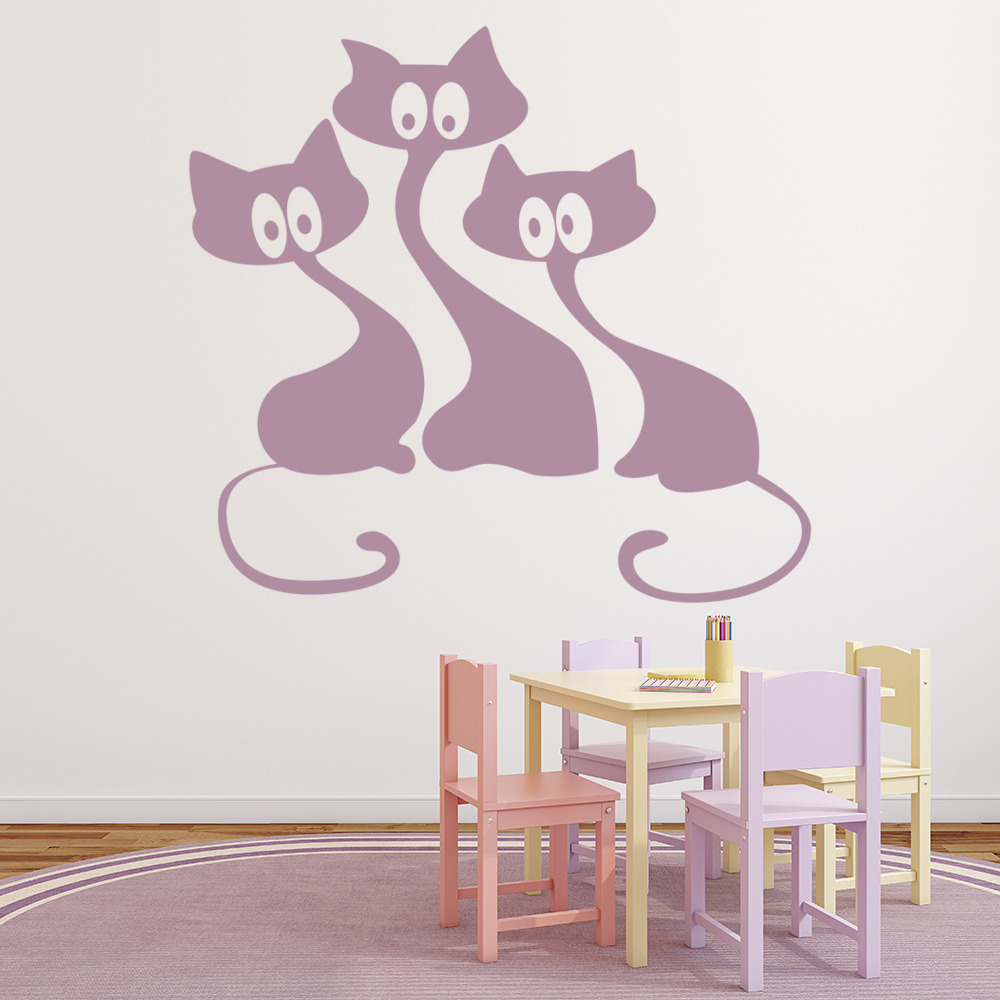 cartoon cats wall sticker house cats wall decal kids bedroom