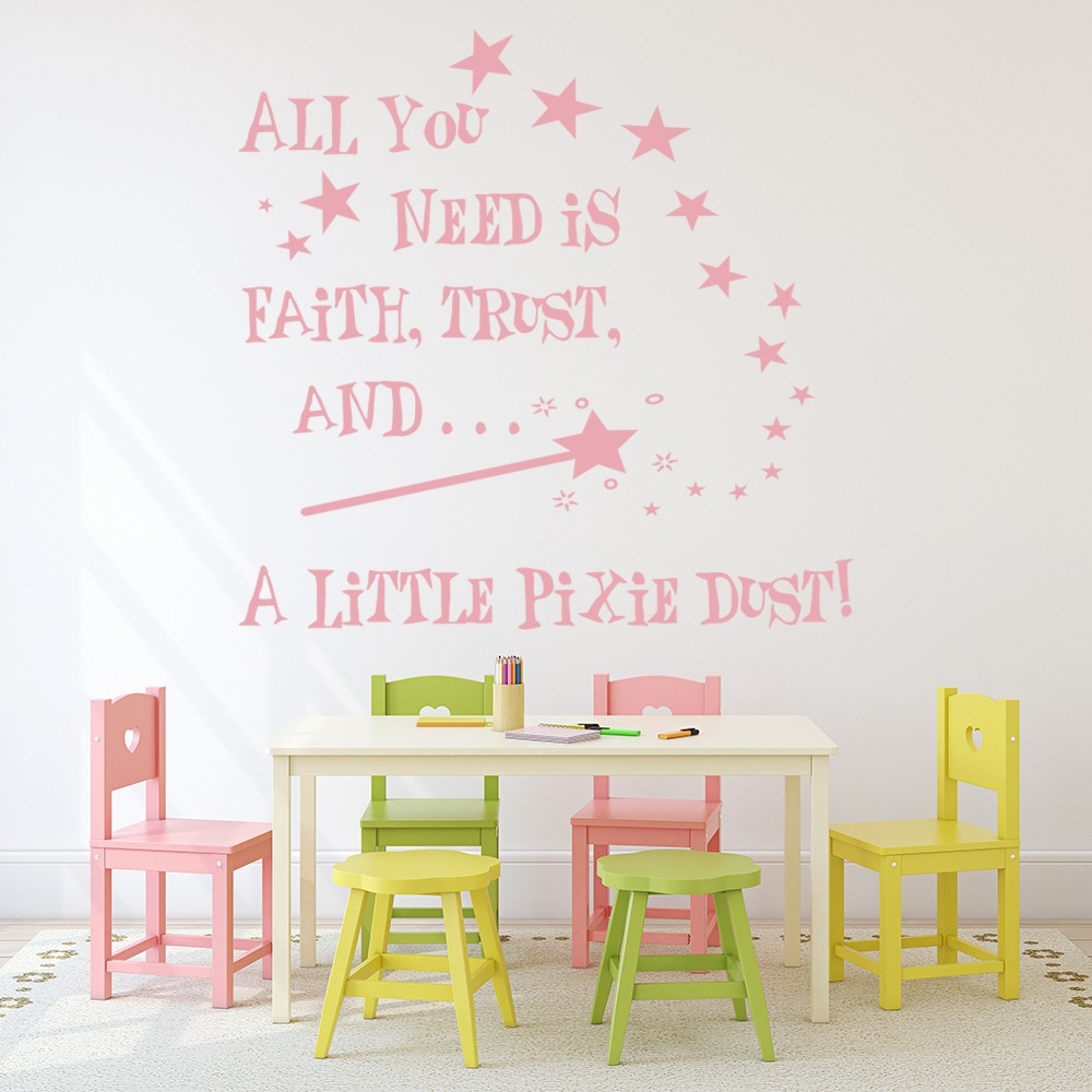 Faith Trust Pixie Dust Quote Nursery & Baby Wall Stickers Home Decor Art Decals