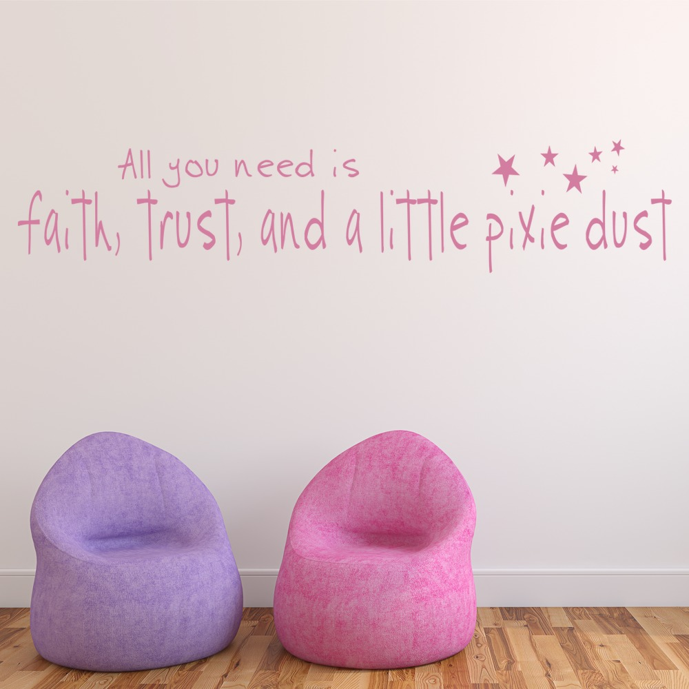 A Bit Of Pixie Dust Fantasy Quote Nursery & Baby Wall Stickers Home Art Decals