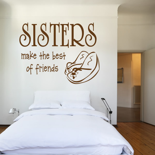Wall Art Quotes For Sisters : Sisters wall sticker quote art