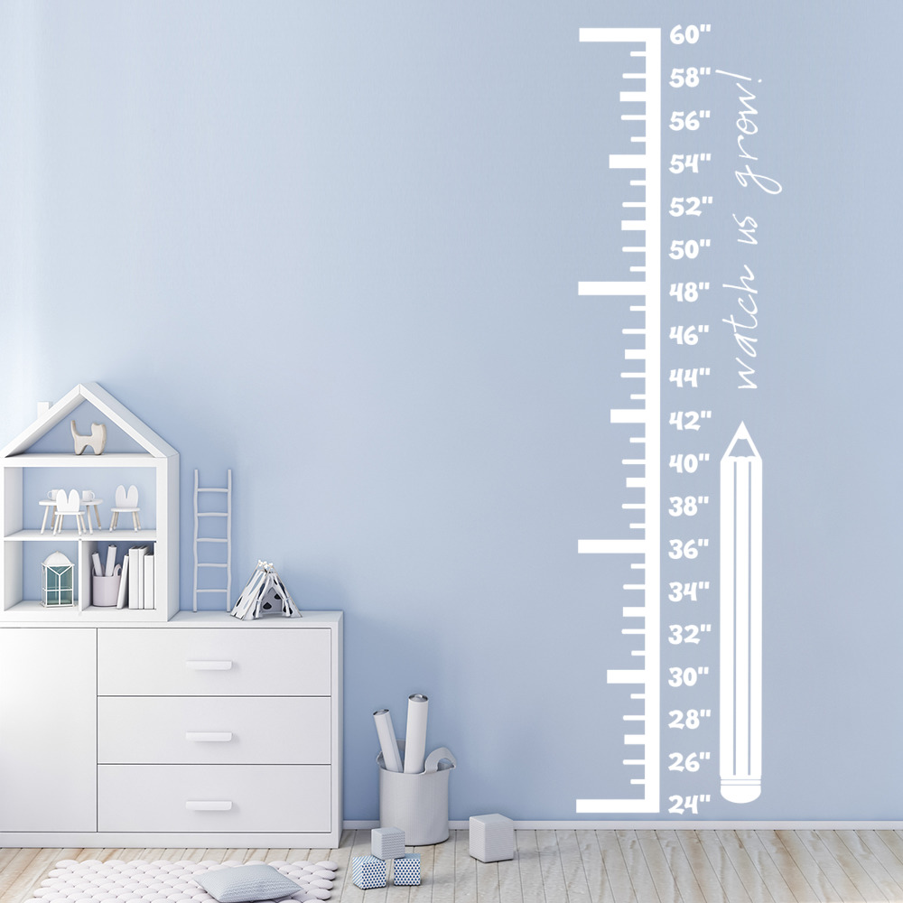 Pencil Height Growth Chart Wall Stickers Children Bedroom Decor Art Decals