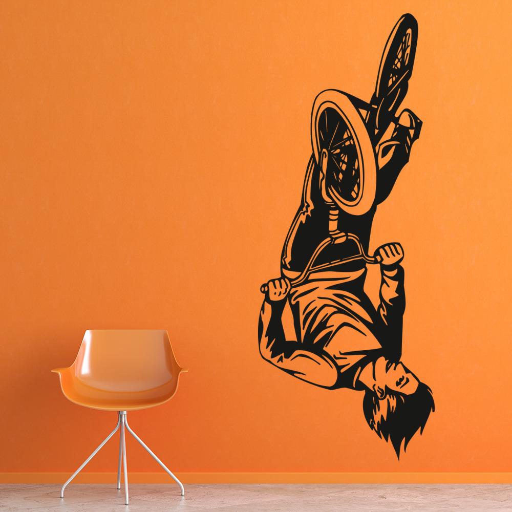 bmx trick wall stickers bike wall art bmx wallsticker fra kun 199 kr