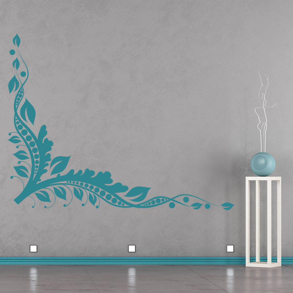 Intricate Vines Corner Piece Floral Design Wall Stickers Home Decor Art Decals