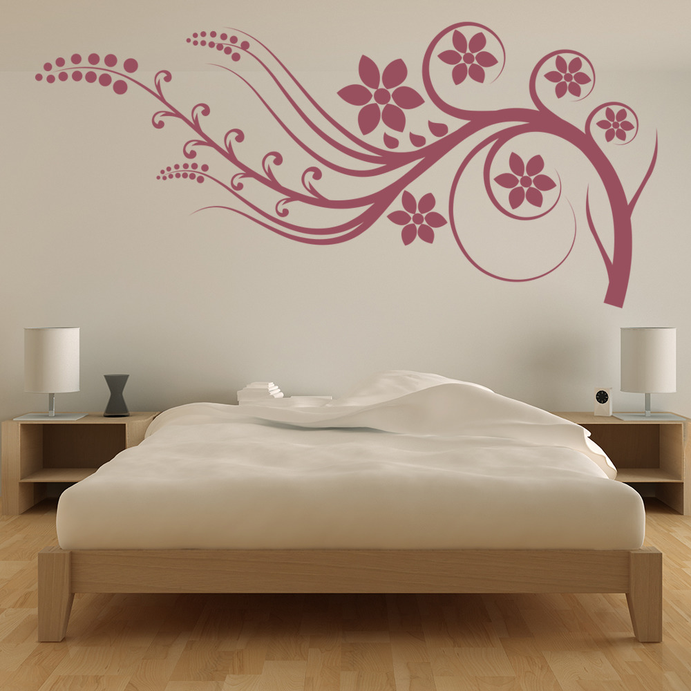 Flower Branch Border Wall Sticker Headboard Wall Decal Girls Bedroom Home Decor