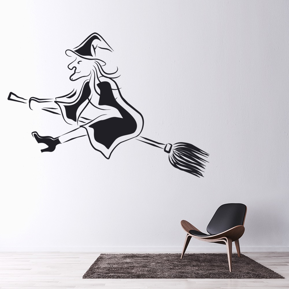 Witch And Broomstick Wall Stickers Halloween Wall Art