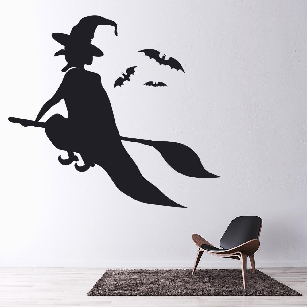 Witch Flying Wall Sticker Halloween Wall Art