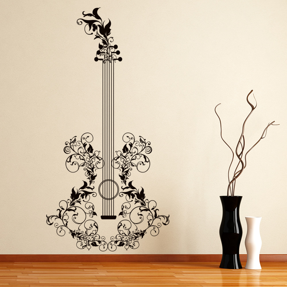 Acoustic Guitar Floral Musical Notes & Instruments Wall Stickers Music Art Decal