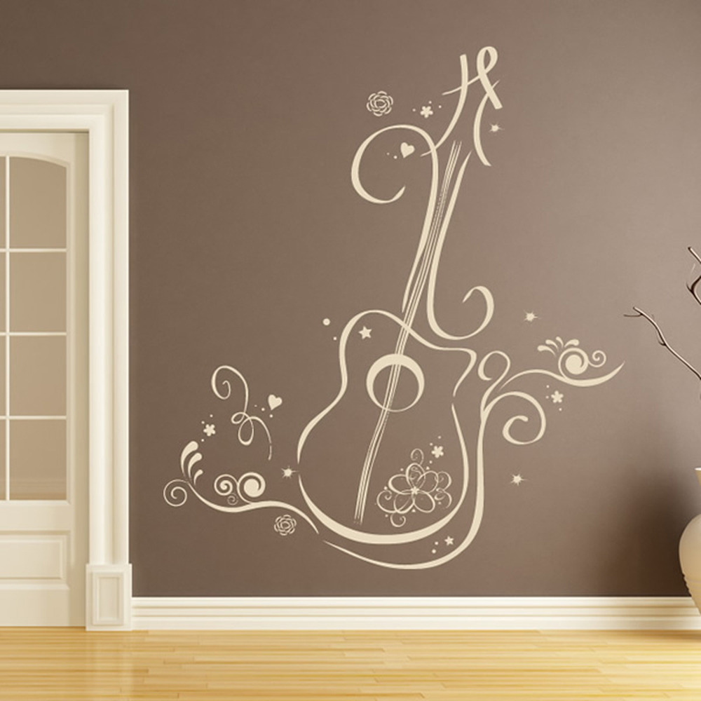 Floral Guitar With Swirls Musical Notes Amp Instruments Wall