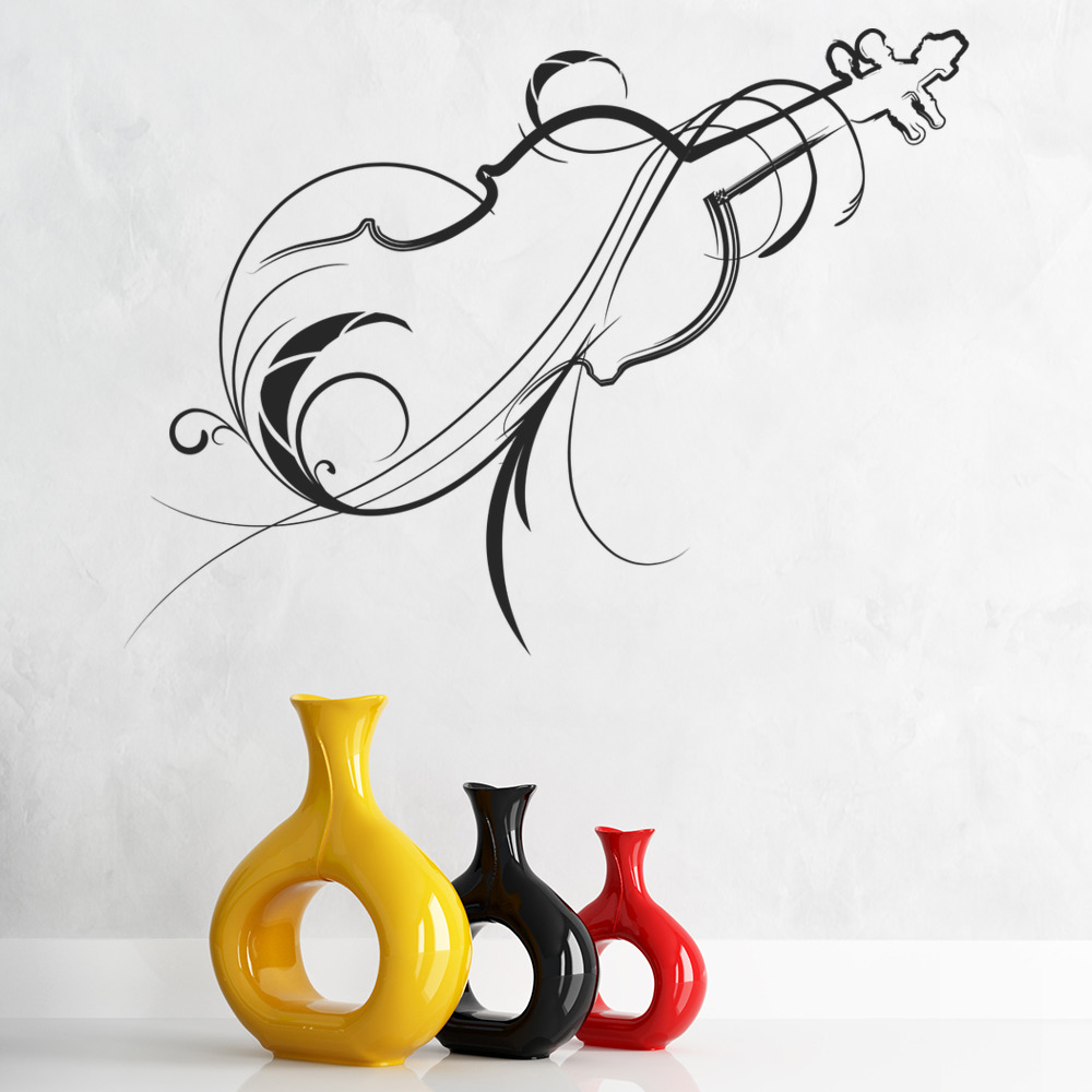 Decorative Violin Wall Sticker Musical Instruments Wall