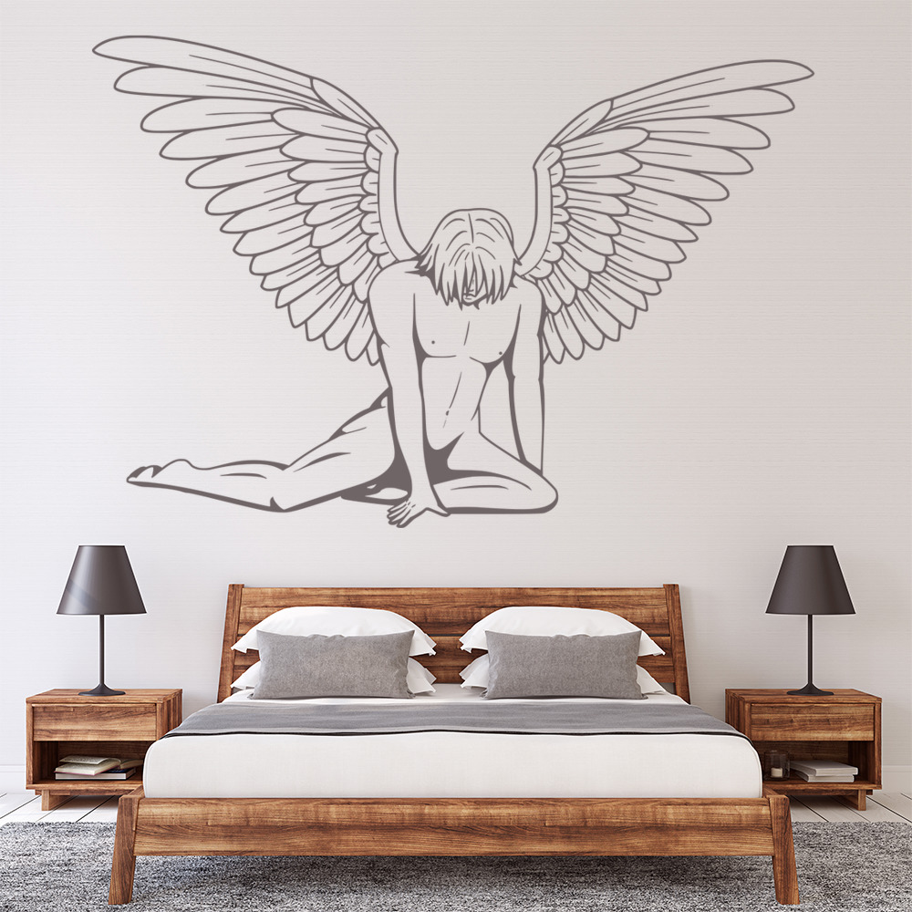 Male angel wall stickers angel wall art for Angel wall decoration