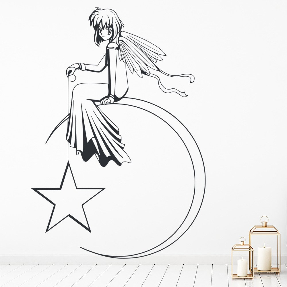 Angel On Moon With Star Angels And Wings Wall Stickers Home Decor Art Decals