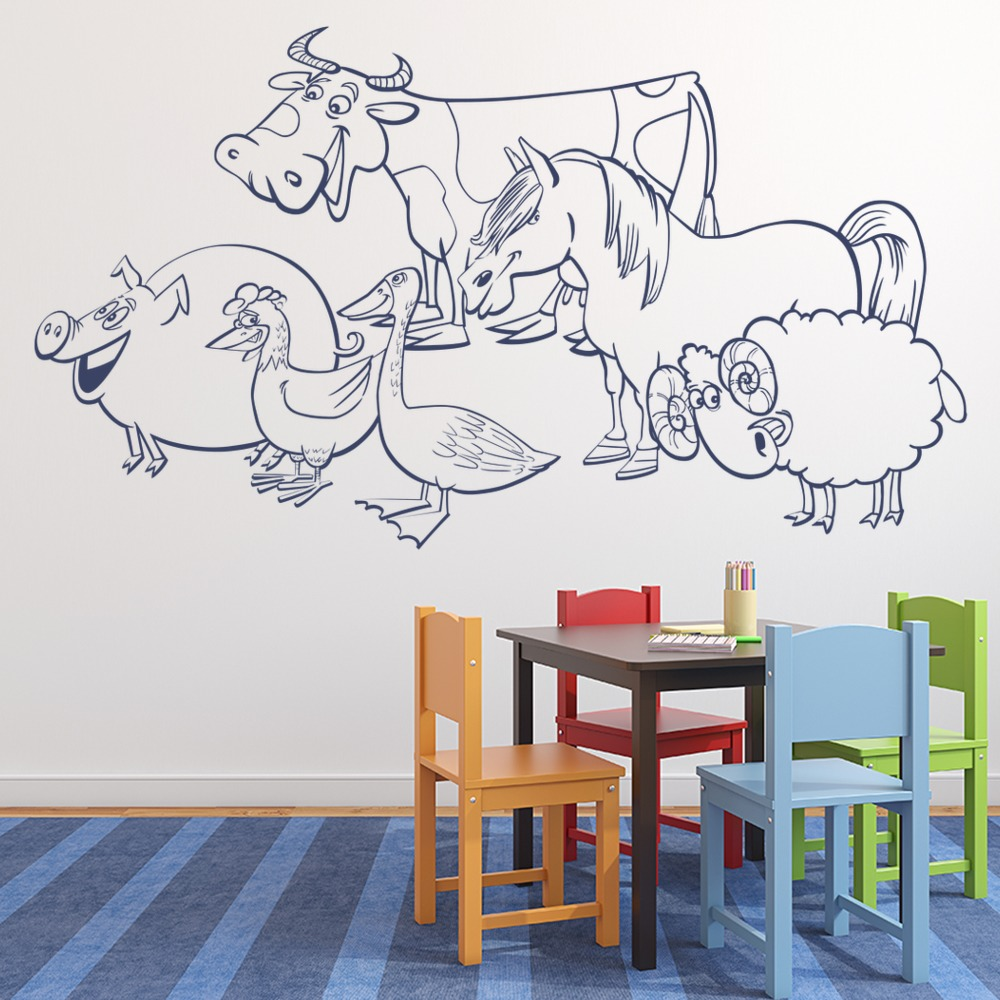 Animal Farm Cow Pig Horse Sheep Farmyard Animals Wall Stickers Kids Art Decals