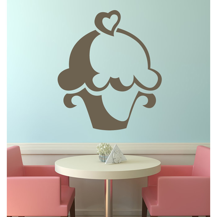 Heart Cupcake Wall Stickers Food Wall Art