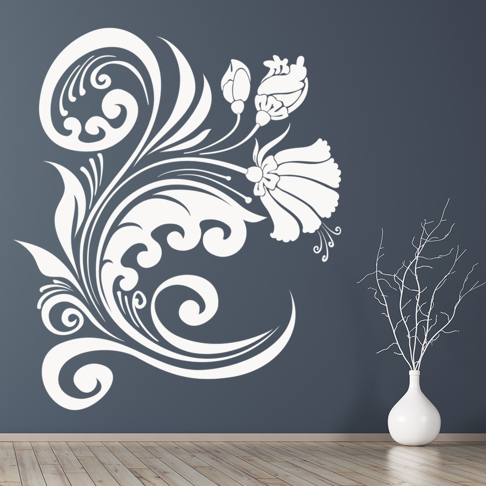 Flower Wave Abstract Decorative Flowers And Trees Wall Stickers Home Art Decals