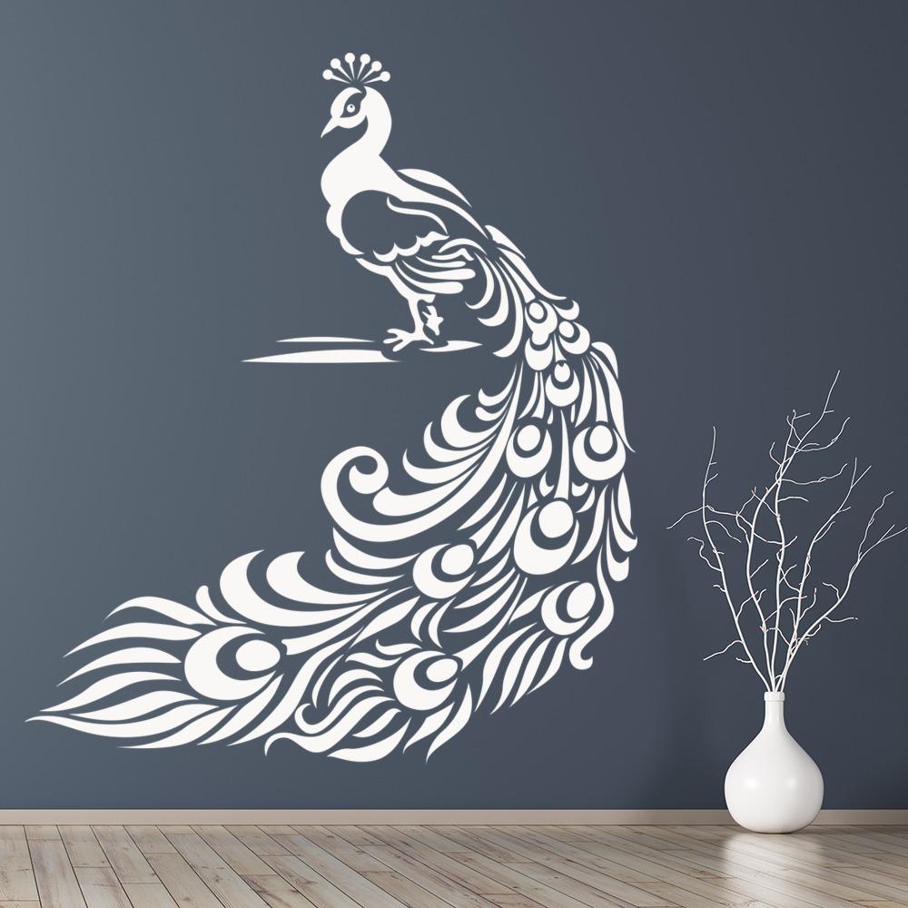 peacock wall stickers bird wall art. Black Bedroom Furniture Sets. Home Design Ideas