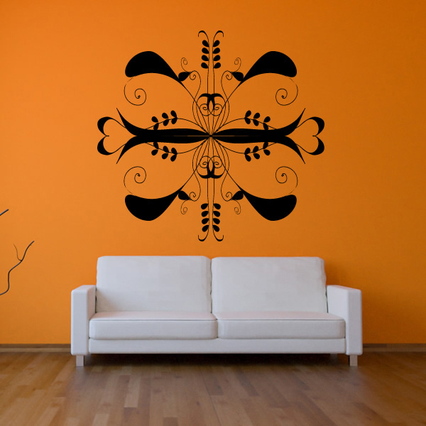 Floral Symmetrical Wall Stickers Decorative Wall Art