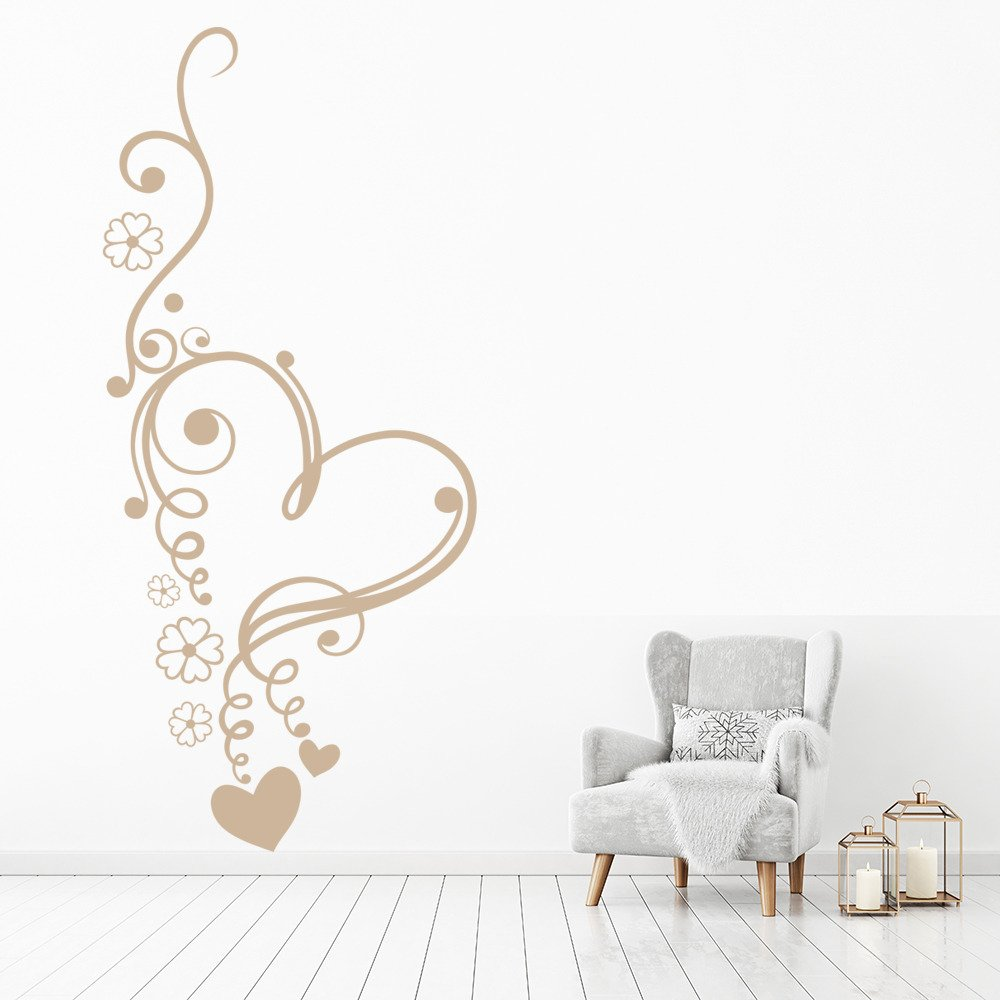 Hearts And Curls Floral Decorative Love Hearts Wall Sticker Home Decor Art Decal