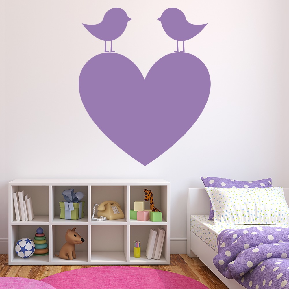 Birds On A Heart Silhouette Love Hearts Wall Stickers Home Decor Art Decals